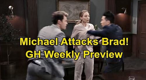 General Hospital Spoilers: Week of October 14 Preview - Michael Attacks Brad At Nelle's Hearing - Ryan Lunges At Chase
