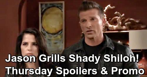 General Hospital Spoilers: Thursday, January 3 – Jason Grills Shady Shiloh, Sam Rattled – Tough Death Rocks Scott and Monica