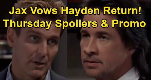 General Hospital Spoilers: Thursday, January 9 – Jax Promises Hayden Return – Anna Confronts Peter – Michael Rattles Brad