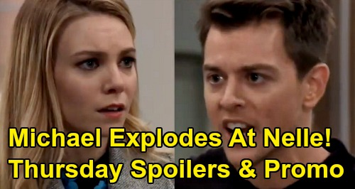 General Hospital Spoilers: Thursday, March 26 – Michael Explodes At Nelle's Surgery Shutdown – Alexis Fights for Sam & Spinelli