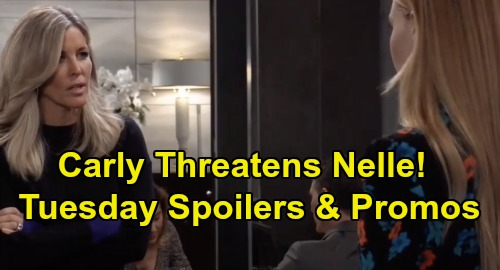 General Hospital Spoilers: Tuesday, January 21 – Carly Threatens Nell - Charlotte Terrifies Lulu - Willow Wants Wiley Adoption Revoked