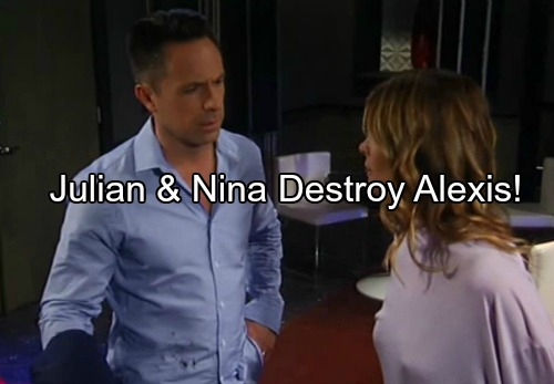 General Hospital (GH) Spoilers: Julian Makes Deal with Nina to Seal Alexis Fate as Carlos' Murder Suspect