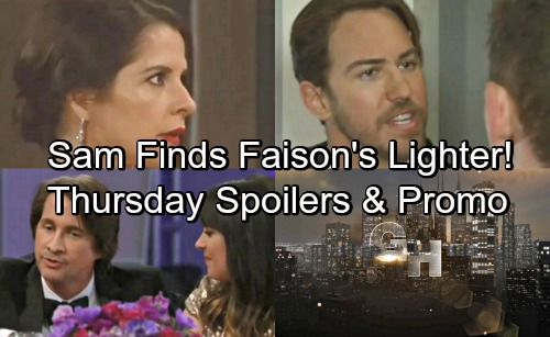 General Hospital Spoilers: Thursday, May 17 – Sam Discovers Faison's Lighter – Peter's Deadly Threat – Alexis Heartbroken