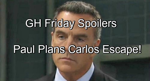General Hospital (GH) Spoilers: Paul Plans Carlos Escape – Jason and Sonny Face Off – Finn and Carly Kidney Shocker