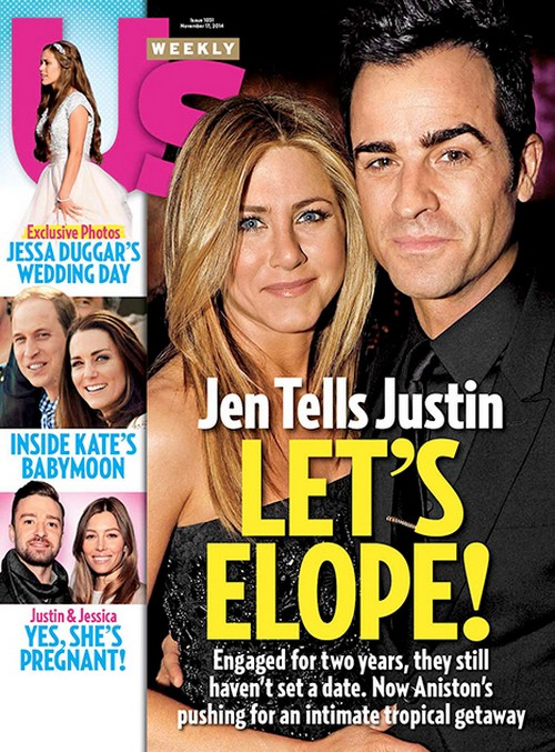 "Jennifer Aniston Says ""Let's Elope"" to Justin Theroux: Publicist Plants Wedding Elopement Story Then Jen Denies It! (PHOTO)"