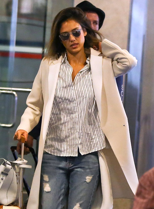 Jessica Alba Arriving On A Flight At LAX