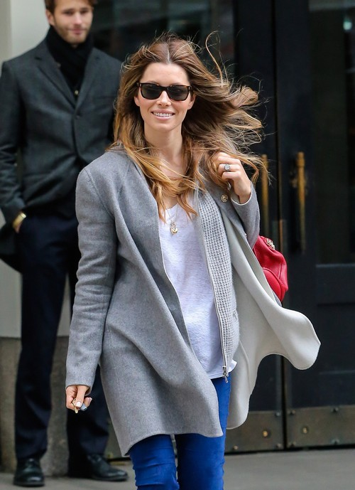 Jessica Biel Out On A Windy Day In NYC