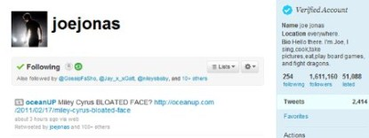 Joe Jonas' Twitter Account Was Hacked
