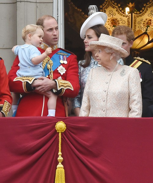 51771738 The Royal Family attend the Trooping The Colour ceremony on June 13, 2015 in London, England. The ceremony is Queen Elizabeth II's annual birthday parade and dates back to the time of Charles II in the 17th Century, when the Colours of a regiment were used as a rallying point in battle. The Royal Family attend the Trooping The Colour ceremony on June 13, 2015 in London, England. The ceremony is Queen Elizabeth II's annual birthday parade and dates back to the time of Charles II in the 17th Century, when the Colours of a regiment were used as a rallying point in battle. Pictured: Prince William, Prince George, Kate Middleton, Queen Elizabeth II, Prince Harry FameFlynet, Inc - Beverly Hills, CA, USA - +1 (818) 307-4813 RESTRICTIONS APPLY: USA ONLY
