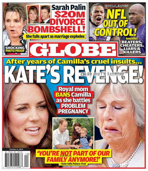 GLOBE: Pregnant Kate Middleton's Revenge on Camilla Parker-Bowles - Bans Cruel Mother-in-Law During Problem Pregnancy (PHOTO)