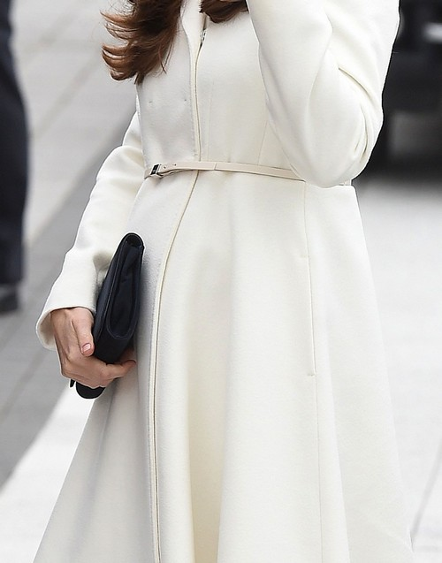 Kate Middleton 7 Months Pregnant Displays Baby Bump in White Coat at Portsmouth, Ben Ainslie Racing (NEW PHOTOS)