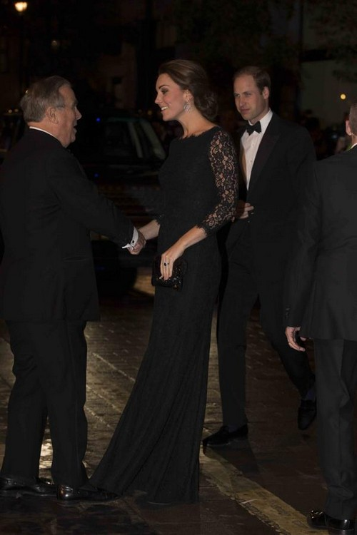 Kate Middleton Meets Harry Styles In Black Diane Von Furstenberg at Royal Variety Performance With Prince William (NEW PHOTOS)