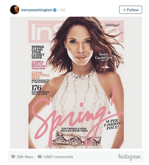 Kerry Washington's Skin Lightened On InStyle Magazine Cover - Mag Apologizes For How It Handled 'Scandal' Star's Image (PHOTO)