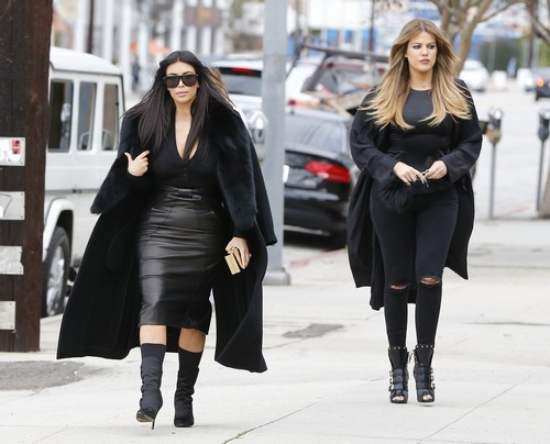 Kim & Khloe Kardashian Visit A Sporting Goods Store With Scott Disick