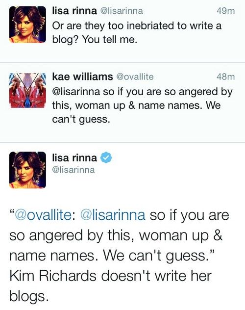 "RHOBH Lisa Rinna Mean Tweets Kim Richards in Cruel Twitter Attack: ""Too Drunk to Write Her Own Blog?"""