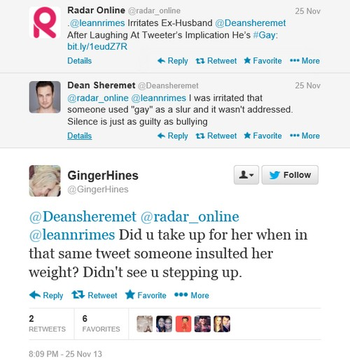 LeAnn Rimes Perpetuates Bullying and Hate Against Dean Sheremet on Twitter