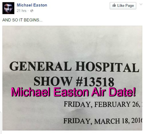 General Hospital Spoilers: Michael Easton Reveals GH Air Date - Hints About New Character