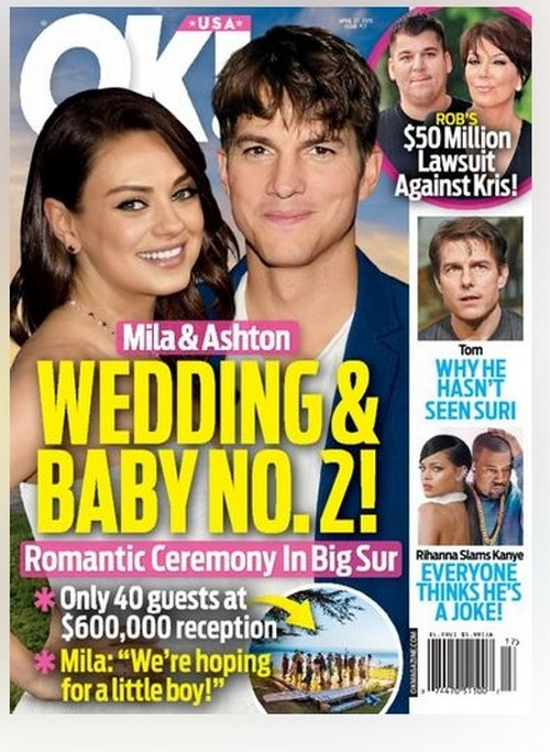 Ashton Kutcher and Mila Kunis Wedding – Married In Big Sur - Pregnant With Baby Number Two?