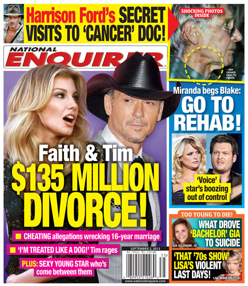 Faith Hill & Tim McGraw Embark on $135 Million Divorce: Which Sexy Young Star's Forcing their Split? (PHOTO)
