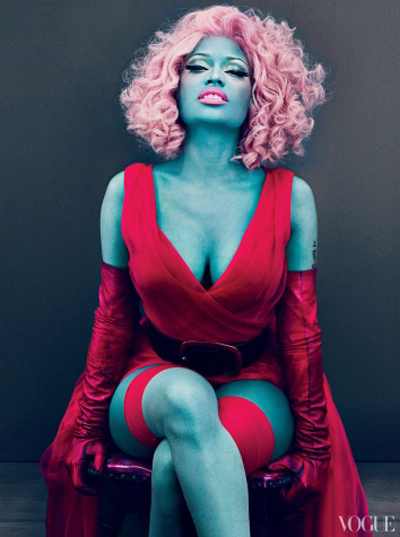Nicki Minaj Looks Like A Blue Smurf In The March Issue Of Vogue