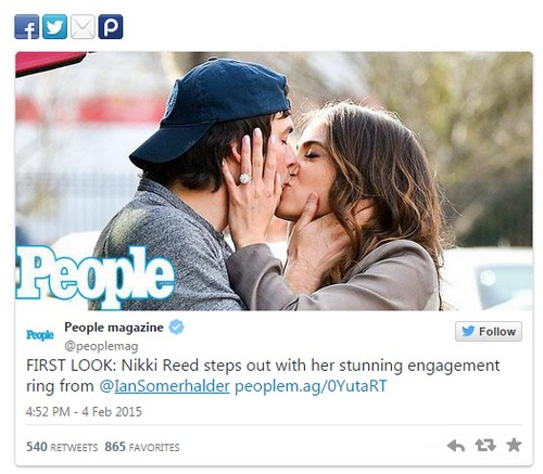 Nina Dobrev Disgusted As Nikki Reed Shows Off Ian Somerhalder Engagement  Ring PDA In People Magazine