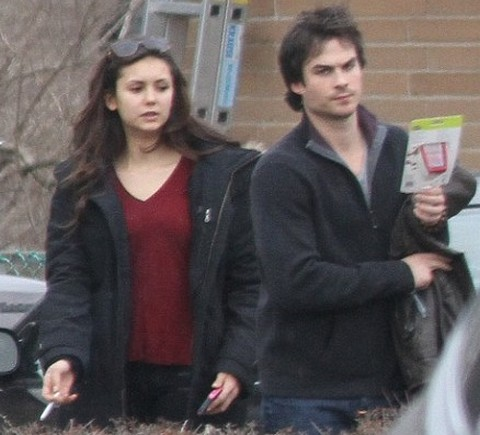 Nina Dobrev, Ian Somerhalder Vampire Diaries Fighting ... Matt Damon Father