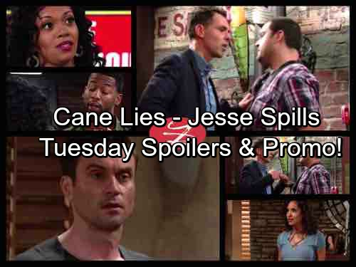 The Young and the Restless Spoilers: Cane Piles on the Lies as Jesse Spills All – Sharon Struggles to Save Crystal