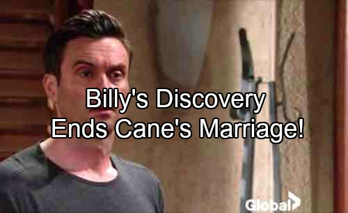 The Young and the Restless Spoilers: Billy's Discovery Ends Lane's Marriage - Cane Only Has Himself To Blame For Nasty Divorce