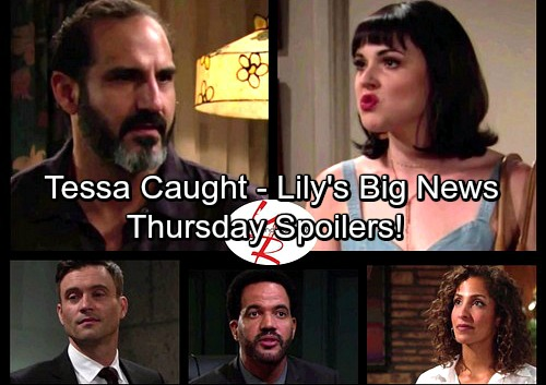 The Young and the Restless Spoilers: Thursday, August 24 - Tessa Caught – Jordan's Exciting News for Lily – Neil Warns Cane