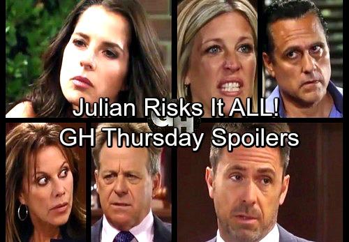 General Hospital Spoilers: Thursday, August 24 – Julian Risks All – Valentin Surprises Nina – Jason and Sam Dig Deep
