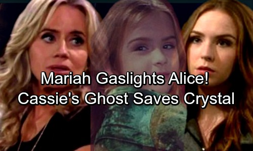 The Young and the Restless Spoilers: Sharon Uses Mariah To Gaslight Alice, Poses as Cassie's Ghost to Save Crystal