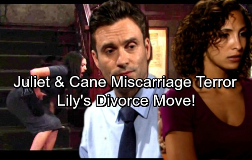 The Young and the Restless Spoilers: Cane and Juliet Miscarriage Terror – Cane Torn Over Lily's Divorce Plans
