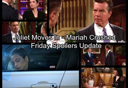The Young and the Restless Spoilers: Friday, October 20 Update - Cane Insists Juliet Move In - Tessa Breaks Mariah's Heart