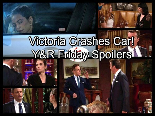 The Young and the Restless Spoilers: Friday, October 20 - Victoria Crashes Car After Faceoff with Cane – Jack Makes a Demand