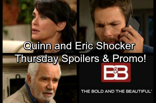 The Bold and the Beautiful Spoilers: Thursday, November 16 - Quinn and Eric Shocker – Steffy Wrestles with Post-Sex Guilt