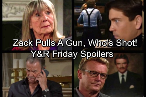 The Young and the Restless Spoilers: Friday, November 17 - Zack Pulls Gun on Abby and Scott, Who's Shot – Dina's Secret Exposed