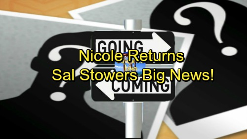 Days of Our Lives Spoilers: Comings and Goings – Nicole Back for Christmas – Sal Stowers Gets Great News
