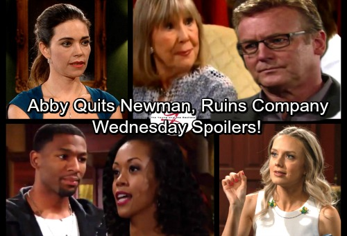The Young and the Restless Spoilers: Wednesday, November 29 - Abby Quits Newman, Sinks Company – Desperate Hilary Turns to Devon