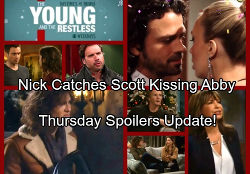 The Young and the Restless Spoilers: Thursday, December 28 Update - Nick Catches Scott and Abby Kissing – J.T.'s Big Decision