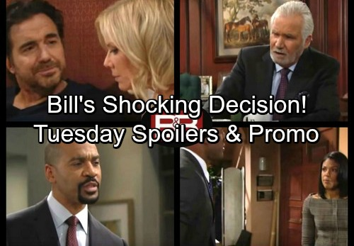 The Bold and the Beautiful Spoilers: Tuesday, January 16 - Bill's Shocking Decision - Carter Won't Give Up on Maya
