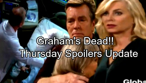 The Young and the Restless Spoilers: Thursday, January 18 Update - Graham's Dead, Dina Ends Life Support – Ashley Accused