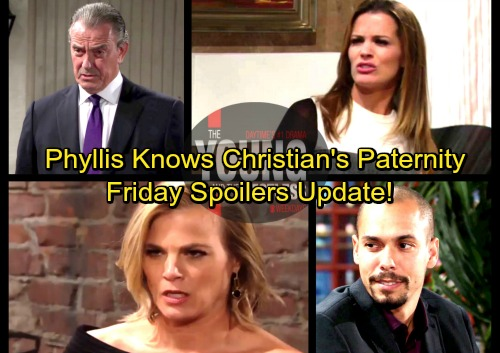 The Young and the Restless Spoilers: Friday, February 16 Update – Phyllis Learns Christian's Paternity – Devon Disgusted With Hilary