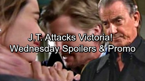 The Young and the Restless Spoilers: Wednesday, March 21 – J.T. Attacks Victoria, Grabs Her Throat – Lily and Cane's Sneaky Pact
