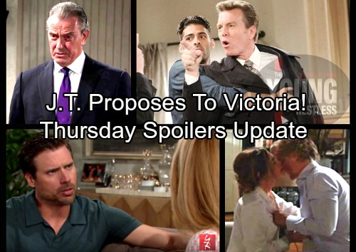 The Young and the Restless Spoilers: Thursday, March 22 Update – Apologetic J.T. Proposes to Victoria – Sharon Pushes Nick to Move Out