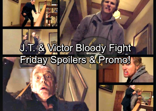 The Young and the Restless Spoilers: Friday, March 23 Update – J.T. Hurls Victor Down a Staircase – Dina Says Jack Isn't John's Son