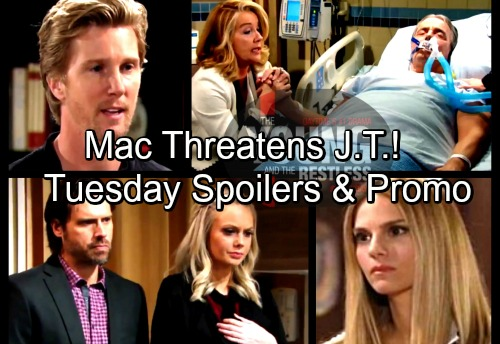 The Young and the Restless Spoilers: Tuesday, April 3 – Mac Threatens J.T. – Newmans Fear the Worst as Victor Weakens