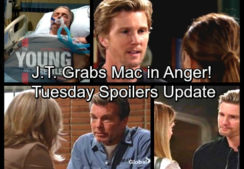 The Young and the Restless Spoilers: Tuesday, April 3 Update – Jack Freaks Over Kyle's Takeover – J.T. Grabs Mac in Heated Faceoff