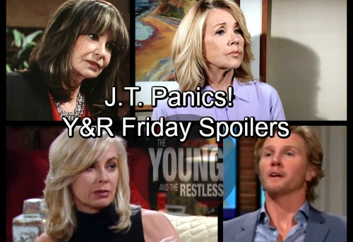 The Young and the Restless Spoilers: Friday, April 6 – Panicked J.T. Exposed – Ashley Suspects Kyle – Nikki and Jill Clash