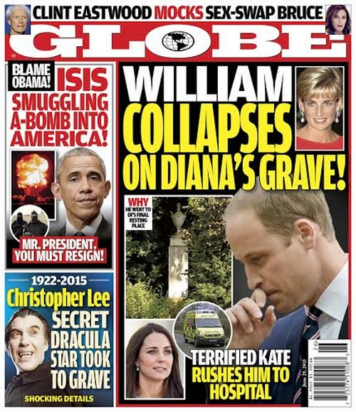 GLOBE: Kate Middleton Supports Prince William After Emotional Collapse At Princess Diana's Grave