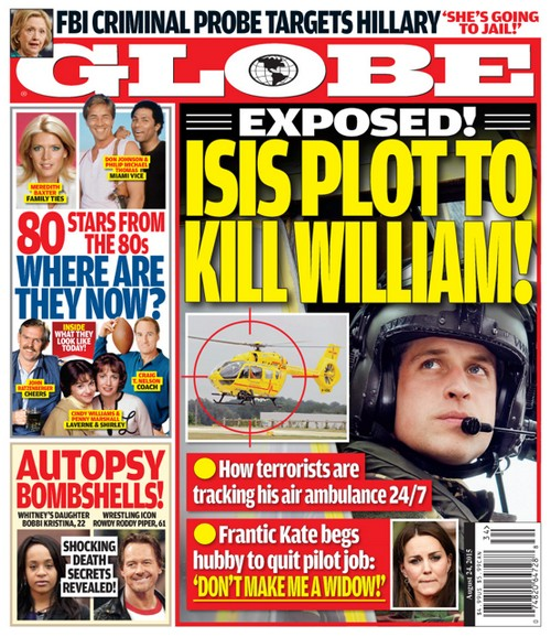 GLOBE: Kate Middleton Begs 'Don't Make Me a Widow' - ISIS Plot to Kill Prince William Exposed (PHOTO)